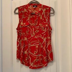 Red Pearl and Chain Pattern Flowy Tank